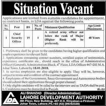 Lahore Development Authority (LDA) Job Opportunity 06 January 2018 Daily Dunya Newspaper.