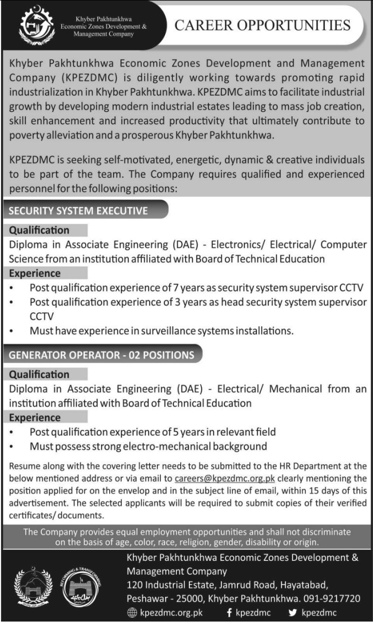 Economic Zones Development and Management Company Khyber Pakhtunkhwa 03 Jobs, 13 January 2018 Daily Mashriq Newspaper.