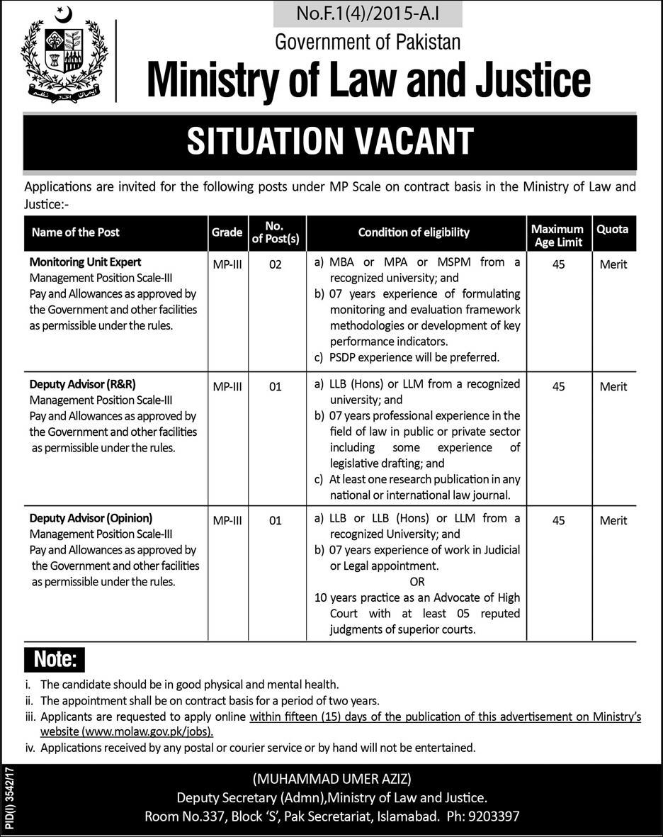 Govt. of Pakistan, Ministry of Law and Justice 04 Jobs, 05 January 2018 Daily Express Newspaper.