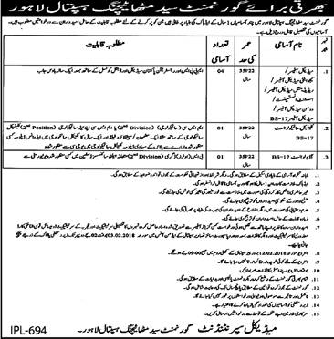 Lahore, Governement Syed Mitha Teachingh Hospital 06 Jobs 18 january 2018 Daily Jang Newspaper