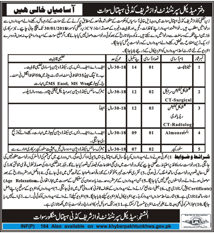 Swat, Nawaz Sharif Kidney Hospital 09 Jobs, 11 Jan 2018 Daily Mashriq Newspaper.