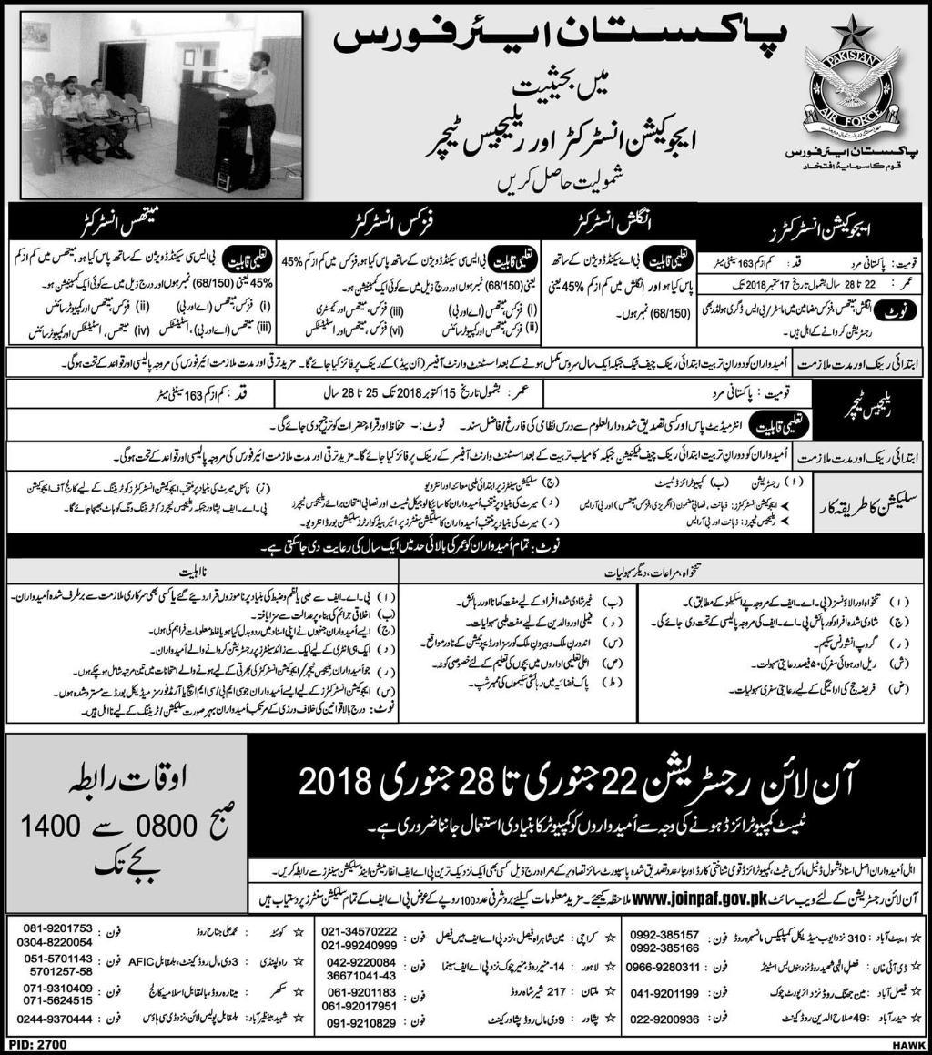 Pakistan Air Force Latest Jobs 21 January 2018 Daily Nawa-e-Waqat Newspaper
