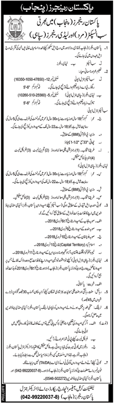 Punjab, Pakistan Rangers Latest Jobs 22 January 2018 Daily Nawa-e-Waqat Newspaper
