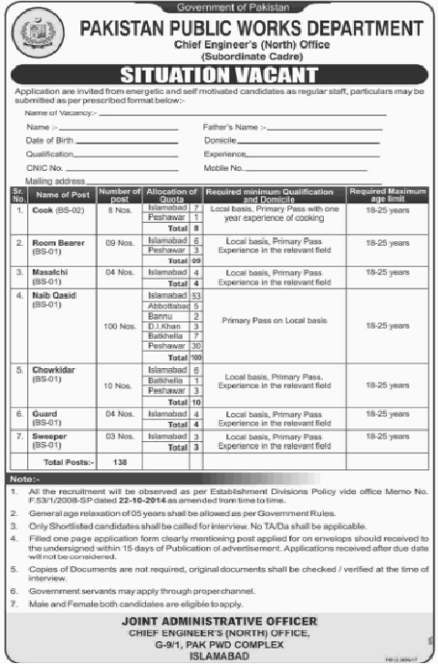 Rawalpindi, Pakistan Public Works Department 138 Jobs, 12 January 2018 Daily Jang Newspaper
