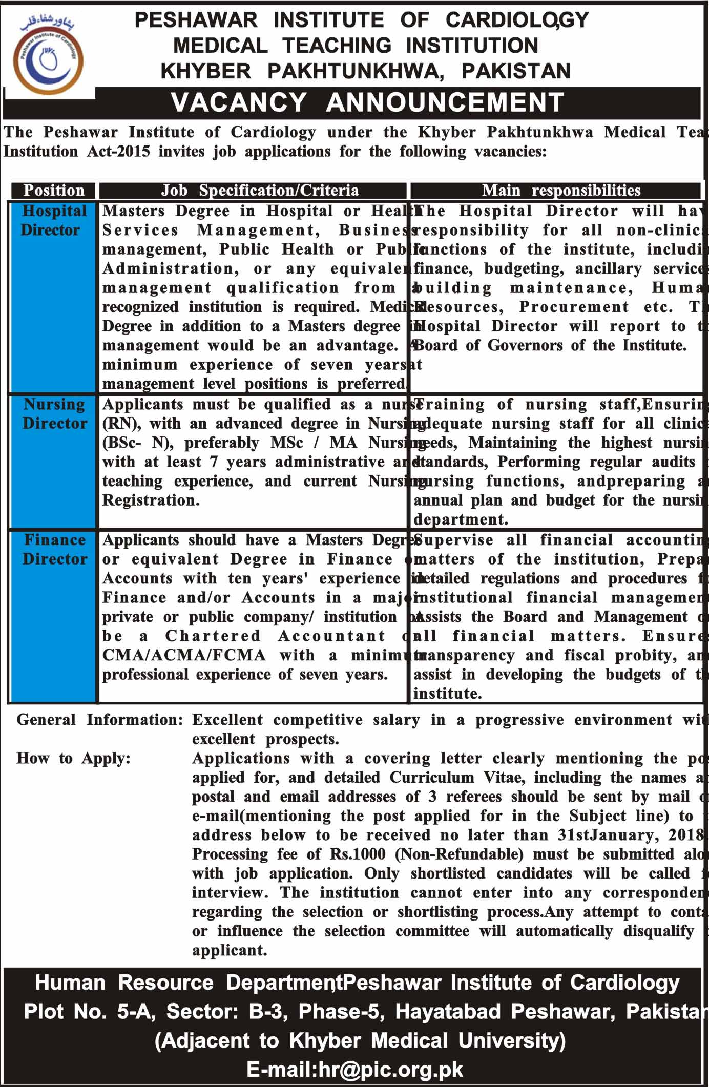 Khyber Pakhtunkhwa, Peshawar Institute of Cardiology, Medical Teaching Institution, 03 Jobs, 16 January 2018 Daily Mashriq Newspaper
