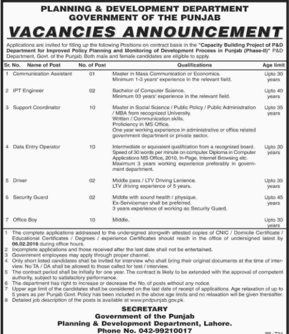 Govt. of the Punjab, Planning and Development Department 37 Jobs, 18 january 2018 Daily Dawn Newspaper