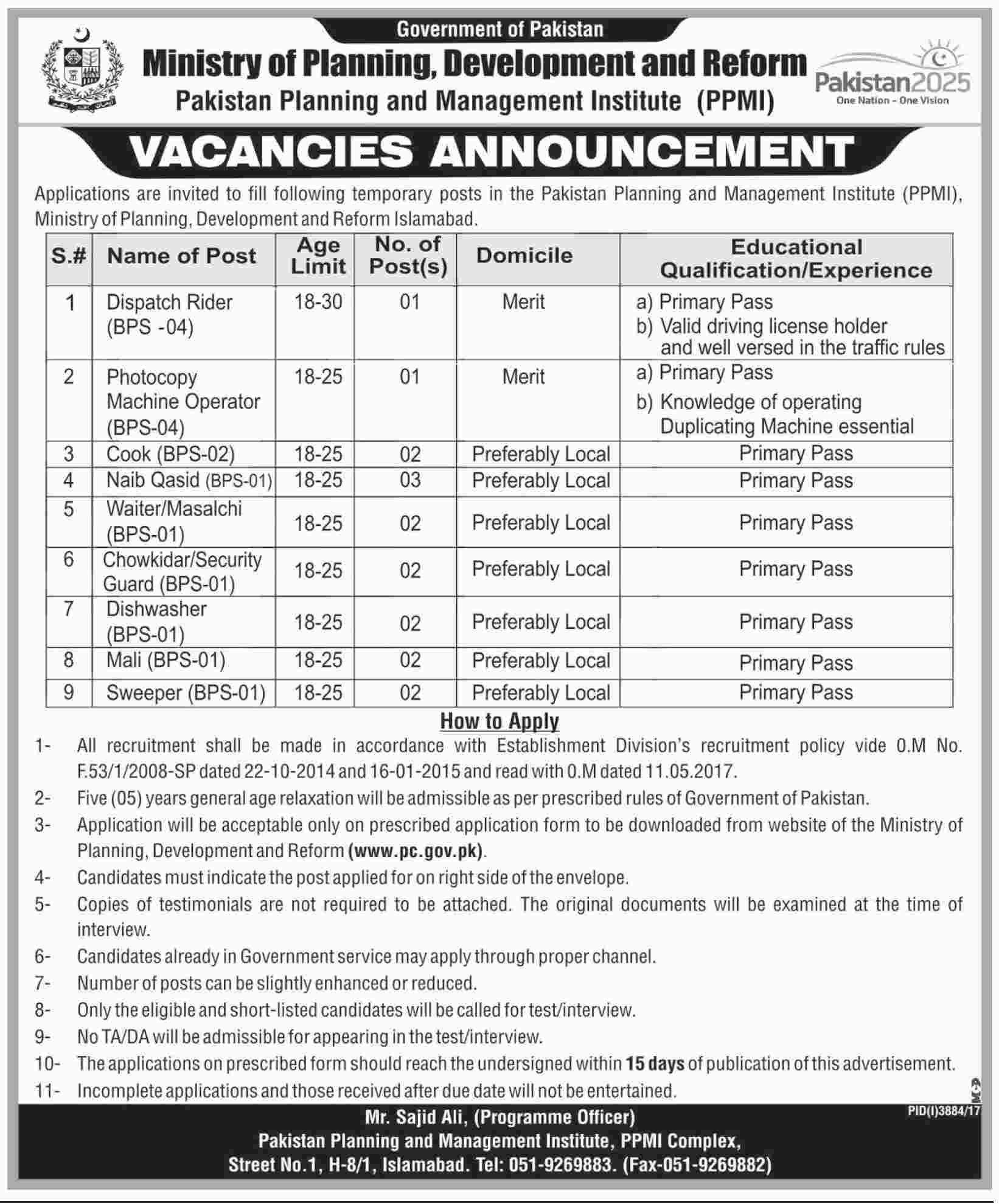Islamabad, Ministry of Planning, Development and Reform 17 Jobs, 21 January 2018 Daily Jang Newspaper.