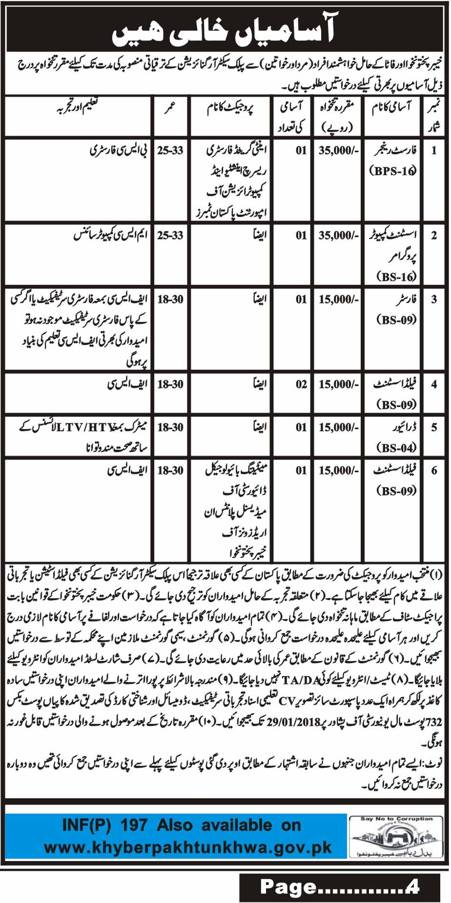 Govt. of Khyber Pakhtunkhwa, Public Sector Organization 07 Jobs, 15 january 2018 Daily Mashriq Newspaper