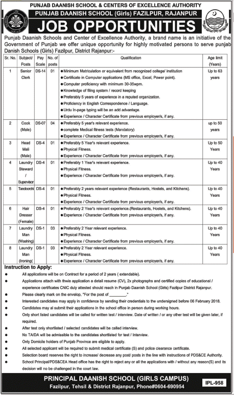Rajanpur, Punjab Danish School Fazilpur 15 Jobs, 22 January 2018 Daily Nawa-e-Waqat Newspaper