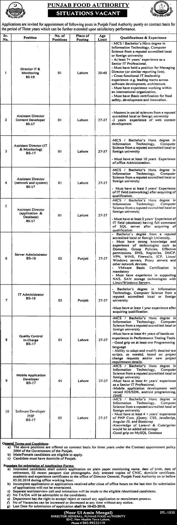 Punjab Food Authority, 14 Jobs, 22 January 2018 Daily Express Newspaper