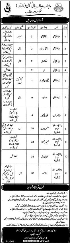 Govt. of Punjab, Punjab Saaf Pani Company (North) 139 jobs 08 January 2018 Daily Jang Newspaper