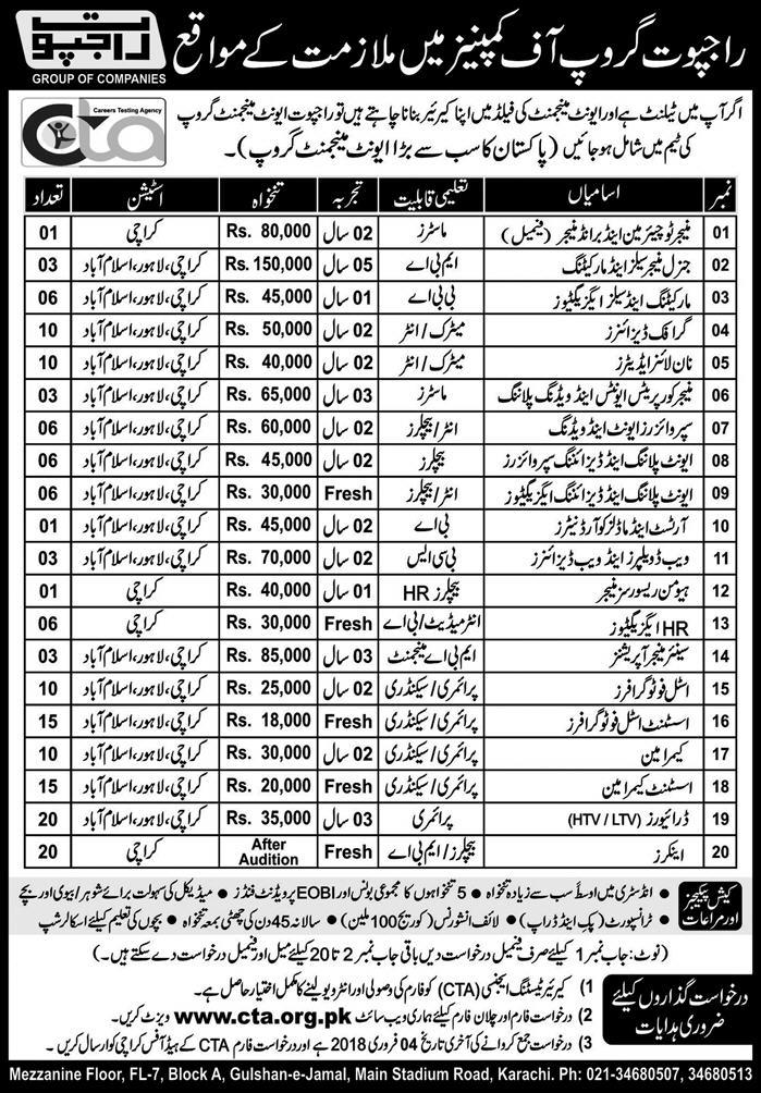 Rajput Group of Companies 155 Jobs, 14 January 2018 Daily Express Newspaper.