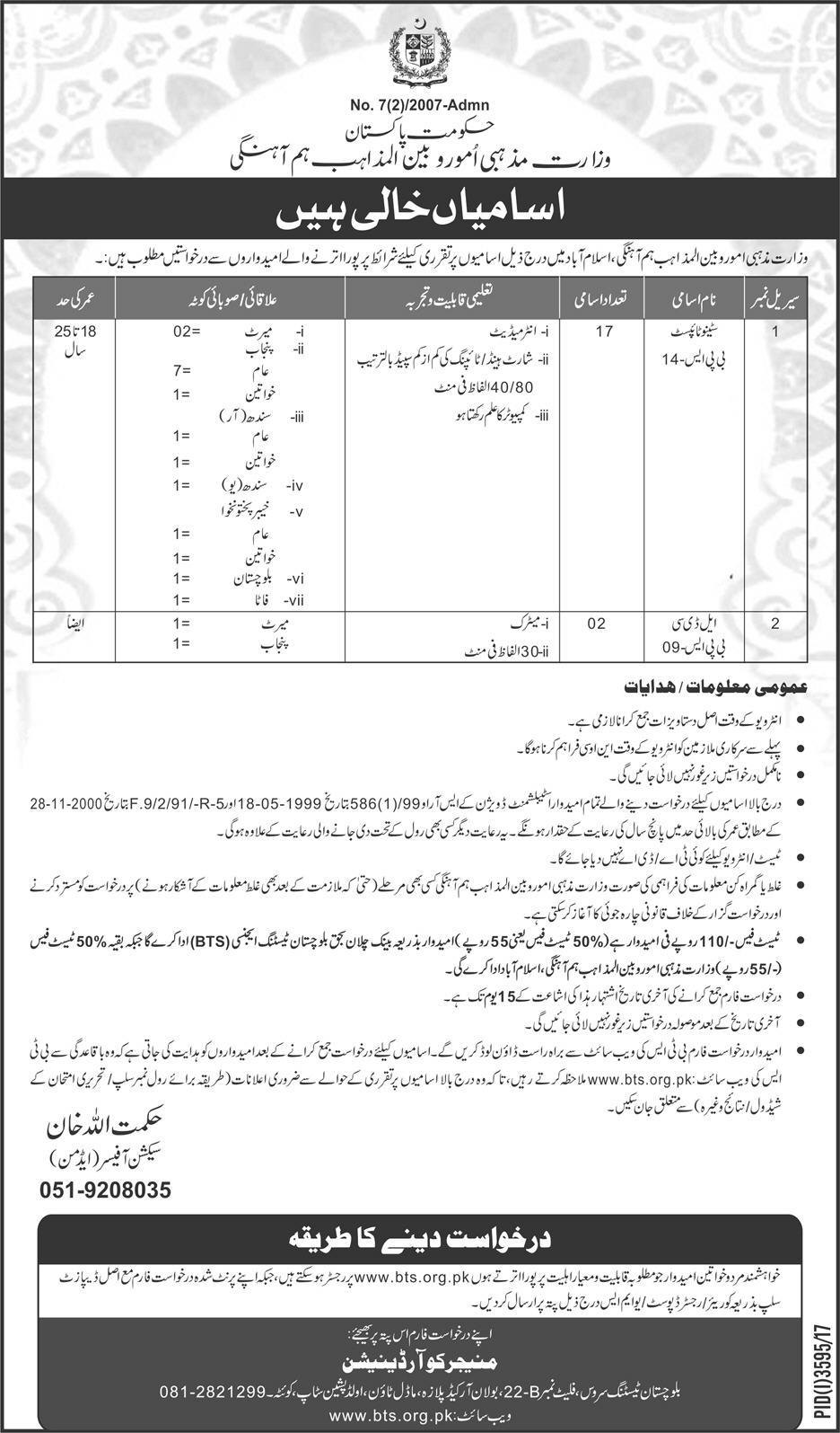 Islamabad Ministry of Religious Affairs and interfaith Harmony 19 Jobs, 07 January 2018 Daily Express Newspaper