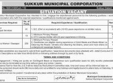Sukkur, Municipal Corporation 261 Jobs, 20 January 2018 Daily Dawn Newspaper