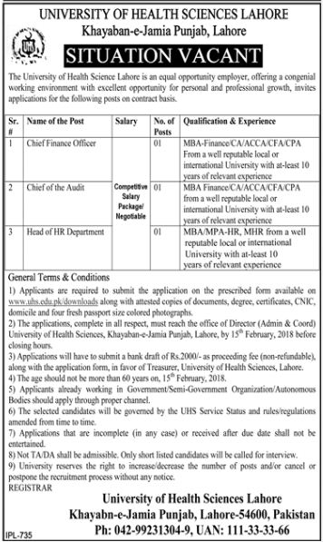 Lahore, University of Health Sciences Lahore 03 Jobs 18 January 2018 Daily Dawn Newspaper