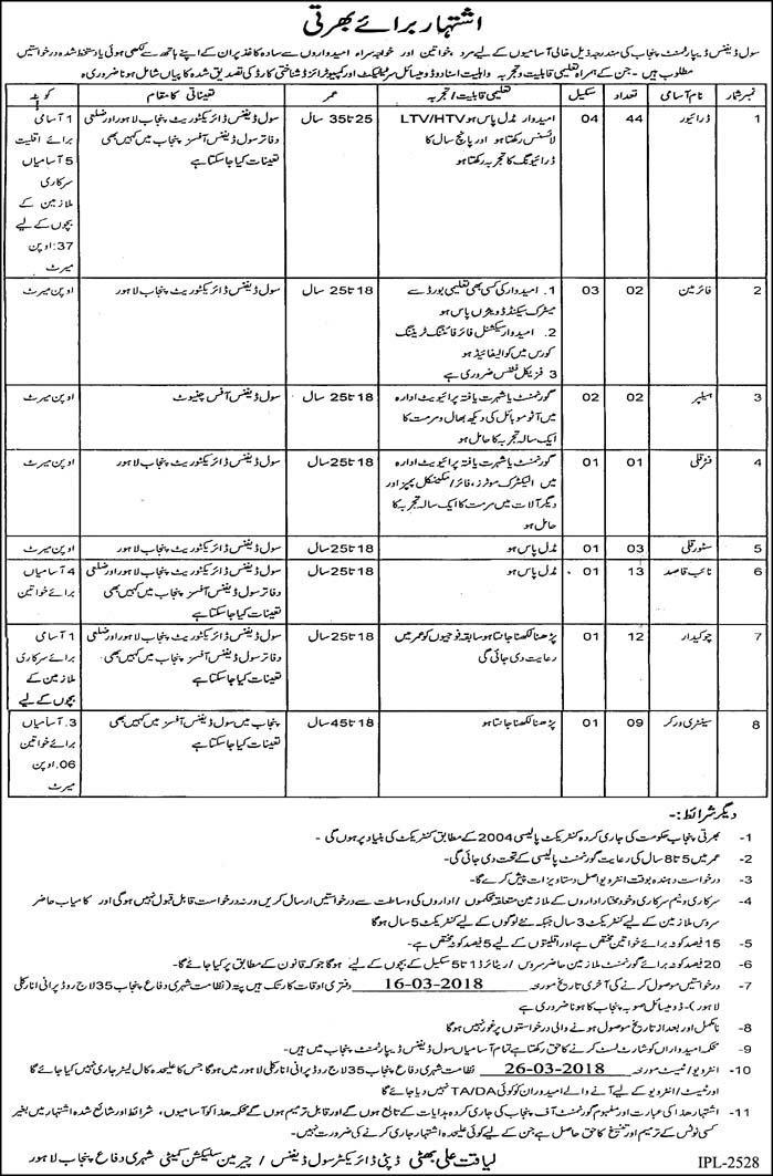 Civil Defense Punjab 86 Jobs 27th February 2018 Daily Express Newspaper