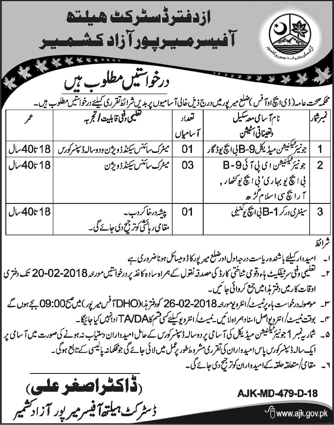 Mirpur District Health Office Azad Jammu & Kashmir 05 Jobs 02/02/2018 Daily Osaf Newspaper