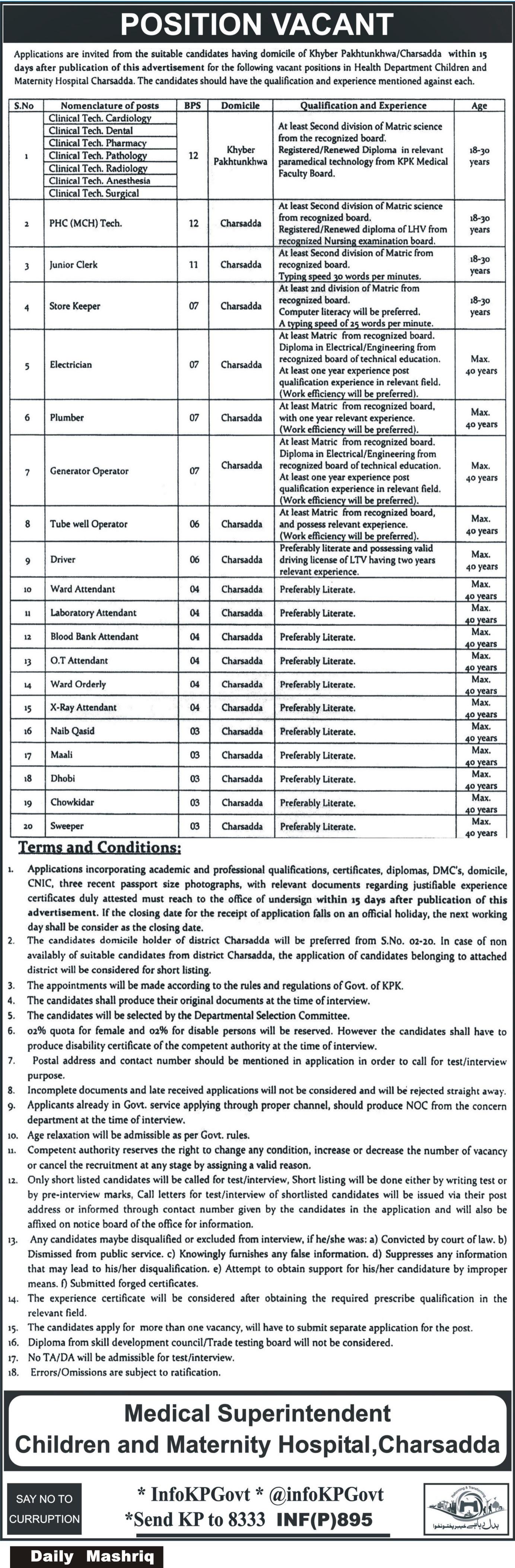 Children & Maternity Hospital Charsadda Latest jobs 23rd February 2018 Daily Mashriq Newspaper