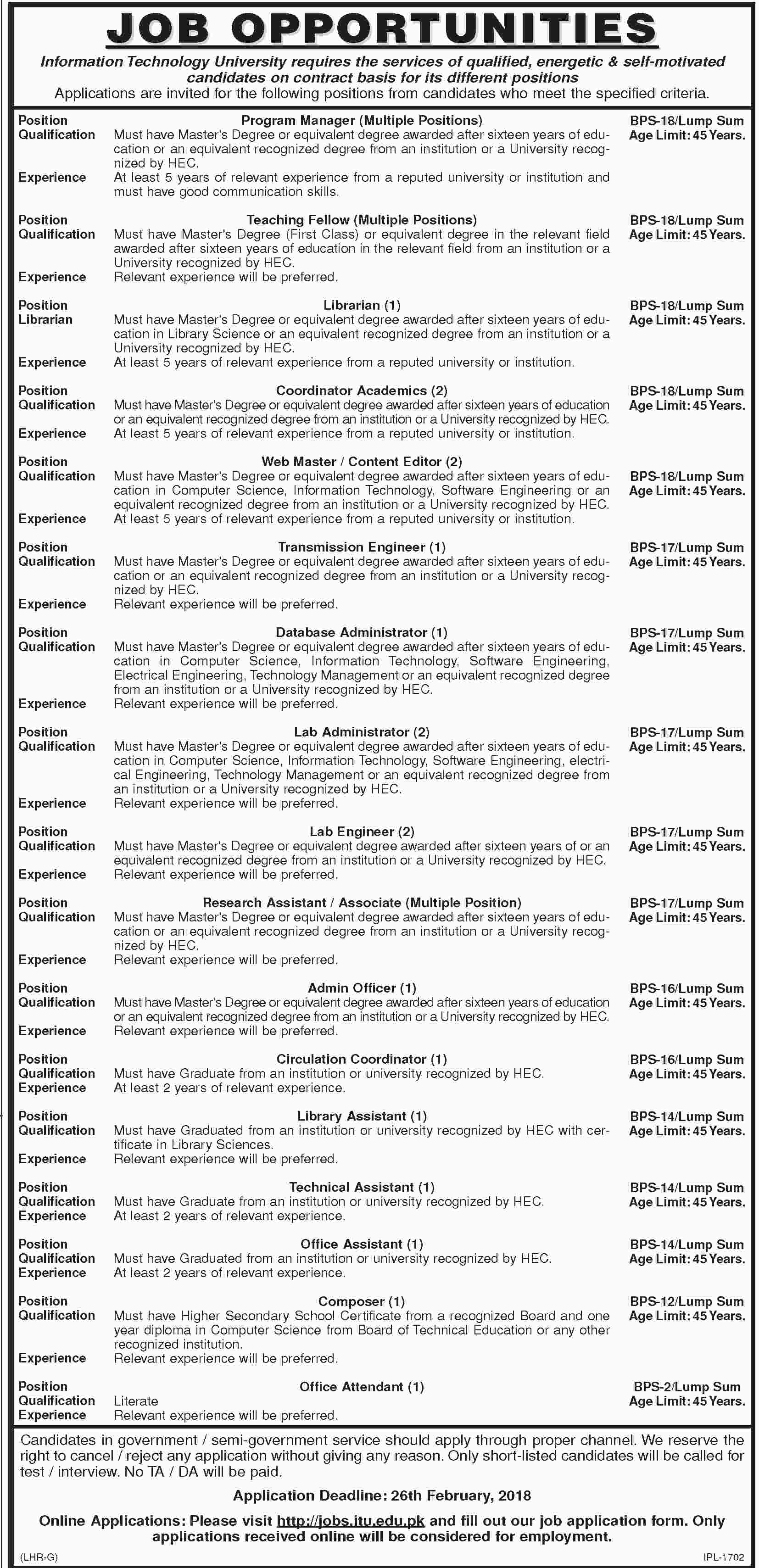Dawn Newspaper Information Technology University Jobs 09 February 2018