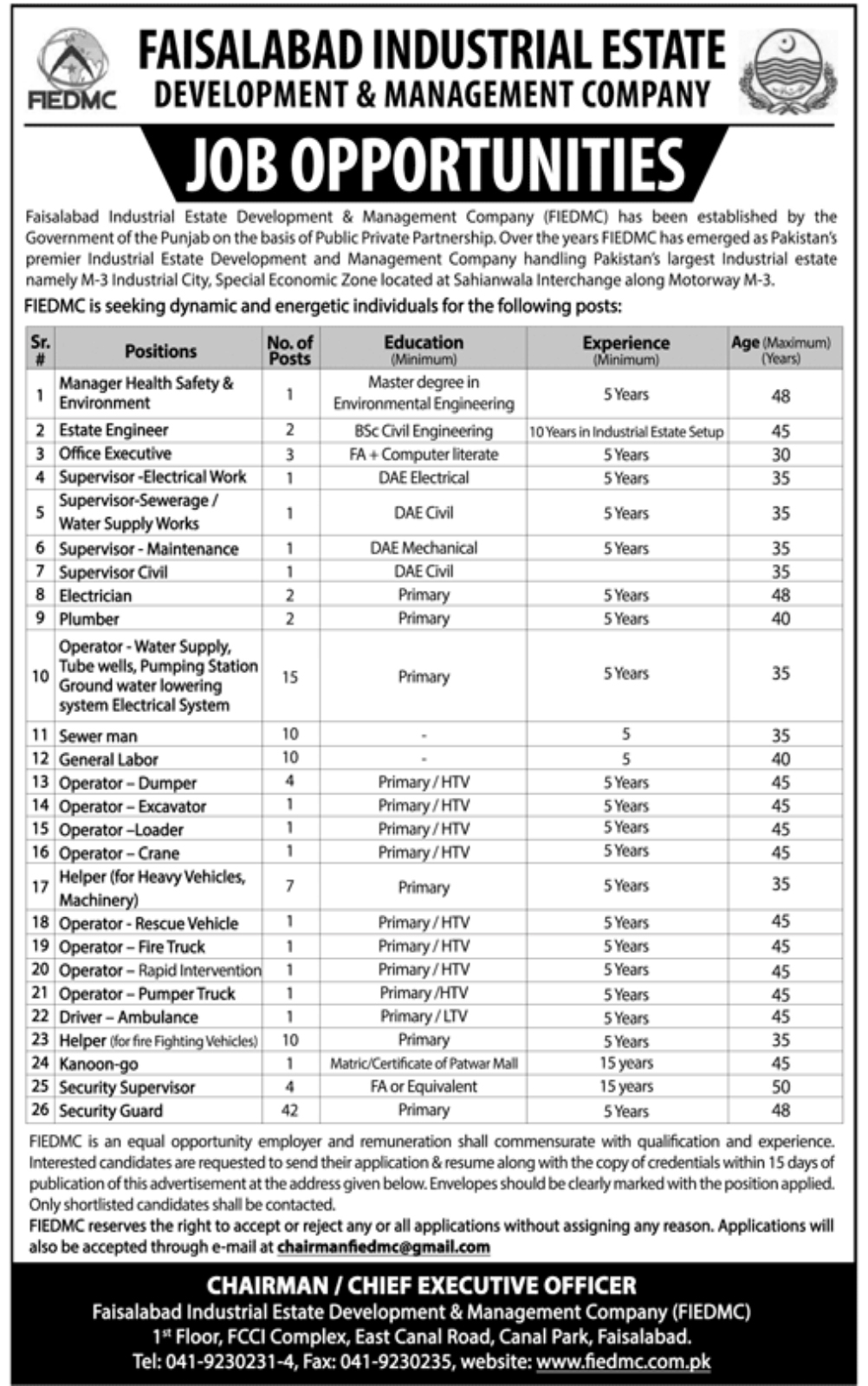 Faisalabad Industrial Estate Development & Management Company 125 Jobs 12February 2018 Daily Jang Newspaper