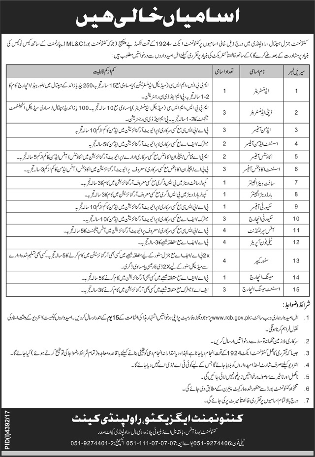 Cantonment General Hospital Rawalpindi 36 Jobs 17th February 2018 in Daily Jang Newspaper