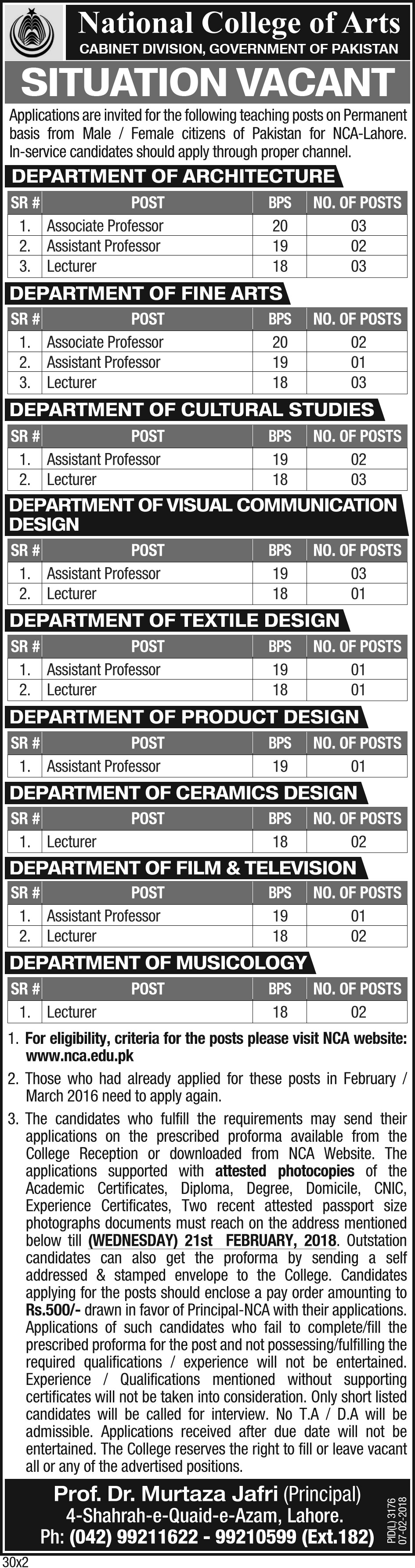 Govt. of Pakistan National College of Arts 33 Jobs 07 February 2018 Daily The News Newspaper