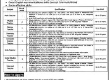 Punjab Daanish School Mianwali 10 Jobs 26th February 2018 Daily Jang Newspaper