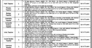 Punjab Daanish School Mianwali 10 Jobs 26th February 2018 Daily Jang Newspaper