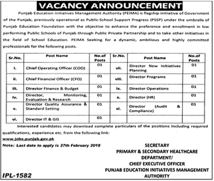 Education Initiative Management Authority Govt. of Punjab 11 Jobs 06th February 2018 Daily Jang Newspaper