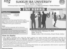 Jobs Opportunity in Sukker IBA University 10th February 2018 Daily Jang Newspaper