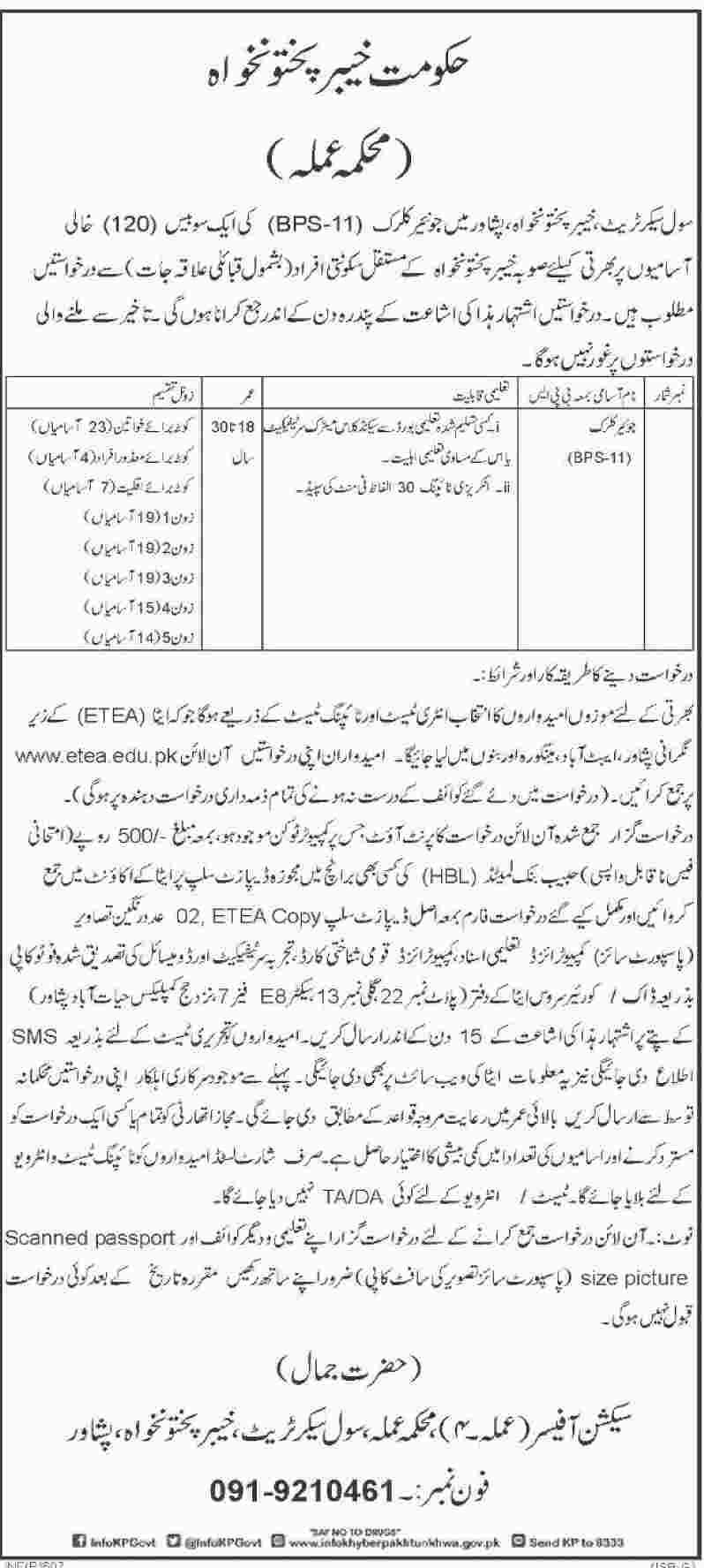 Peshawar Civil Secretariat Junior Clerk Jobs Jang Newspaper 08 February 2018