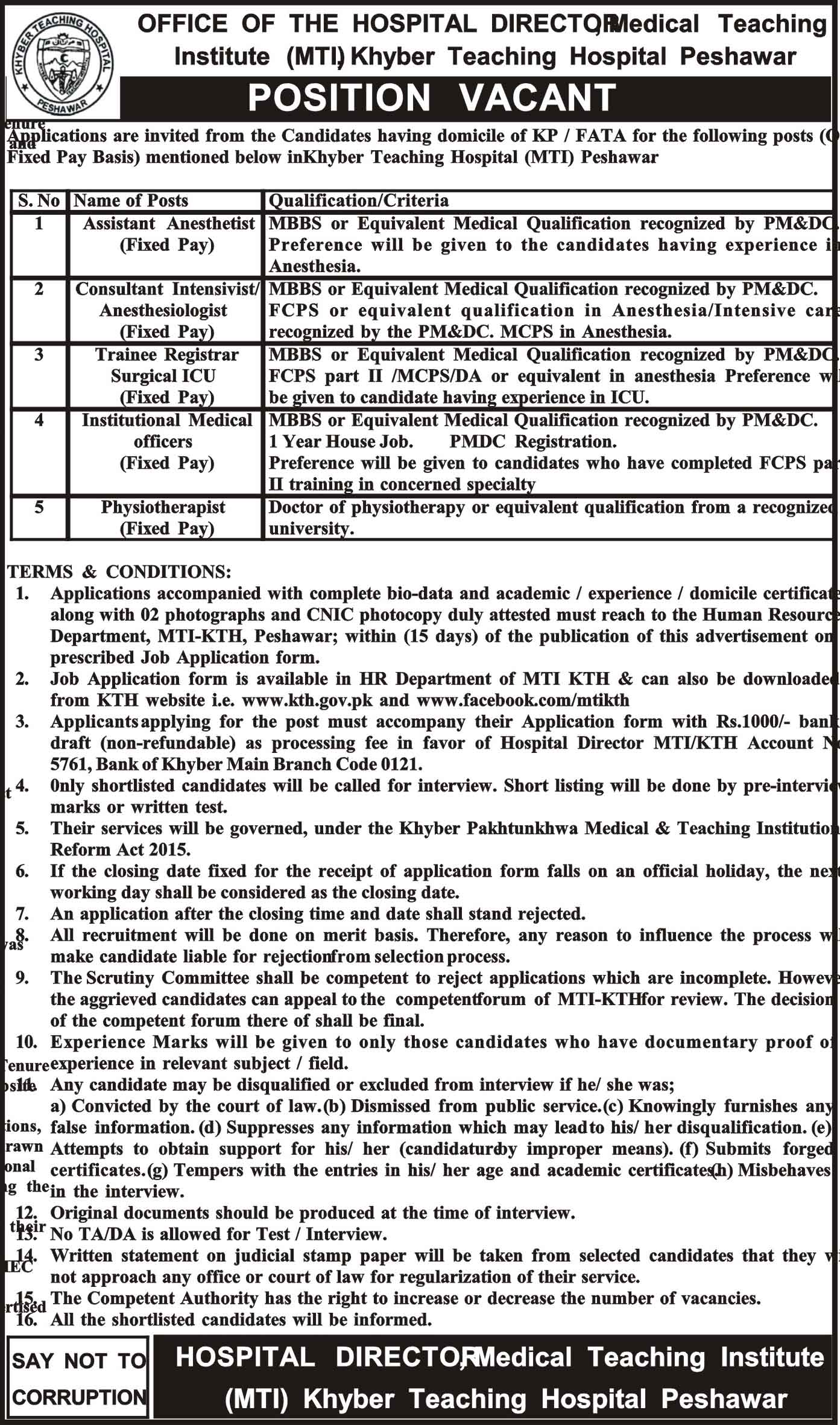 Khyber Teaching Hospital Peshawar New Jobs, 21st February 2018, Daily Mashriq Newspaper