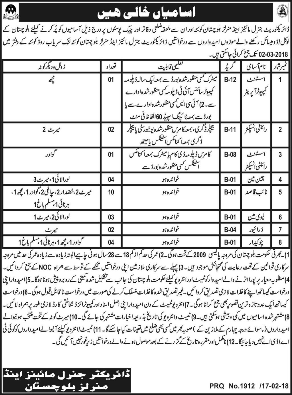 Mines and Mineral Department Quetta 27 Jobs 18 February 2018 Daily Express Newspaper.