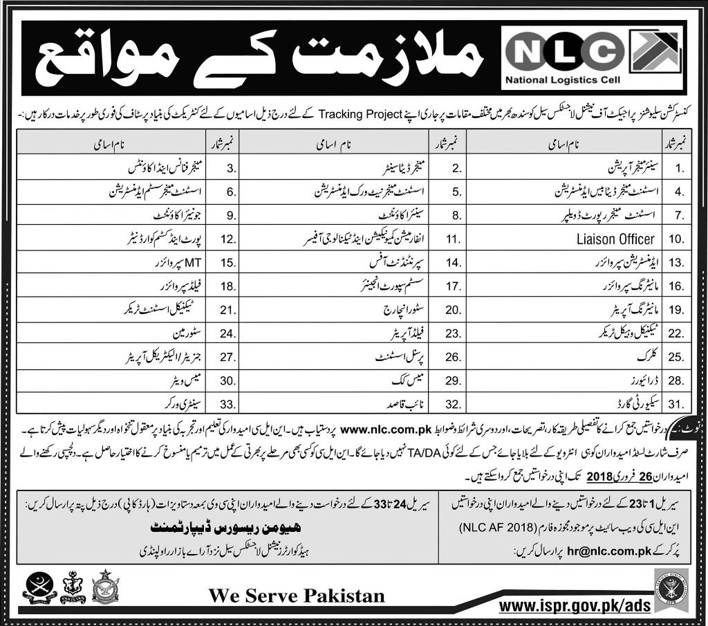 National Logistics Cell Jobs , 11 February 2018, Daily Express Newspaper