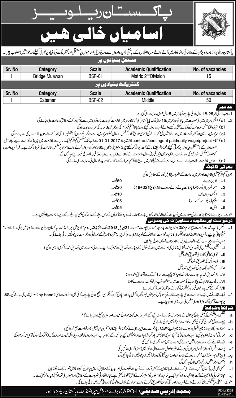 Pakistan Railway Lahore Division 65 Jobs 20th February 2018 Daily Jang Newspaper