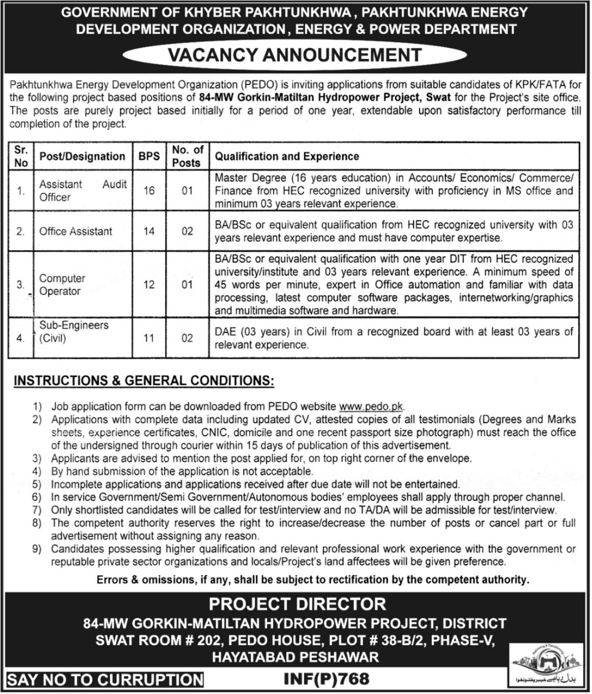Pakhtunkhwa Energy Development Organization 06 Jobs 15th February 2018 Daily Mashriq Newspaper
