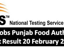 NTS Jobs Punjab Food Authority Test Result 20 February 2018
