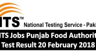 NTS Jobs Punjab Food Authority Test Result 20 February 2018