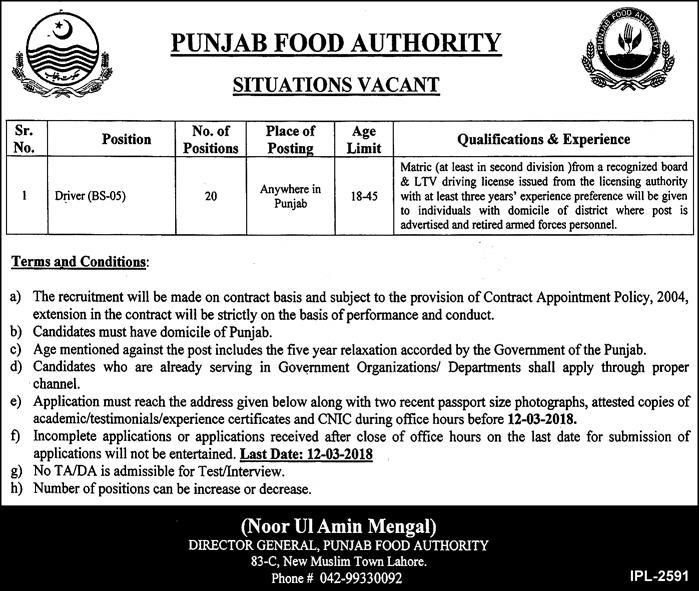 Punjab Food Authority 20 Jobs 28th February 2018 Daily Express Newspaper