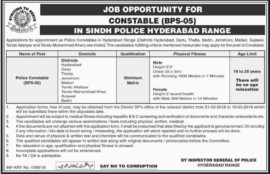 Sindh Police Jobs 27th February 2018 Daily Dawn Newspaper