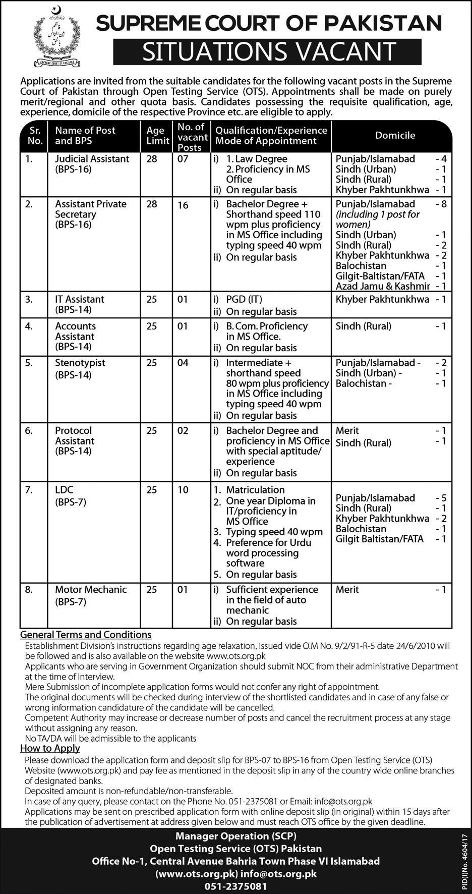 Supreme Court of Pakistan 42 Jobs 24th February 2018 Daily Express Newspaper