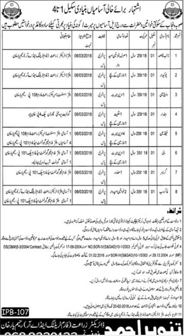 R.Y Khan Agriculture Department 15 Jobs 01/02/2018 Daily Khabrain Newspaper