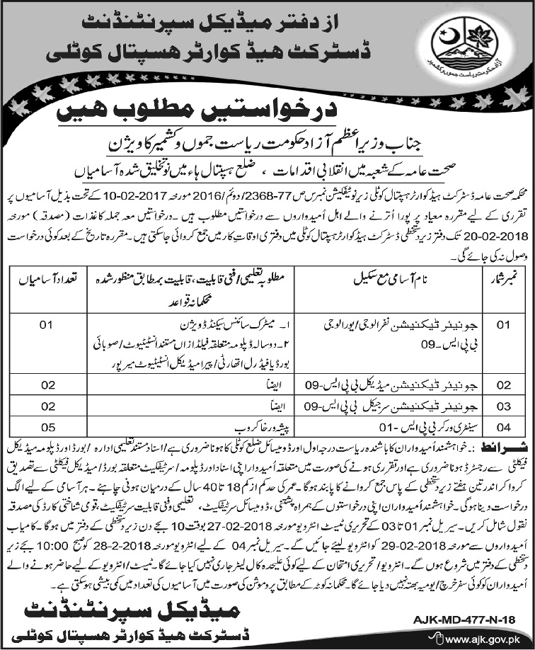 Kotli Azad Jammu Kashmir (AJK) DHQ Hospital 10 Jobs 01/02/2018 Daily Osaf Newspaper