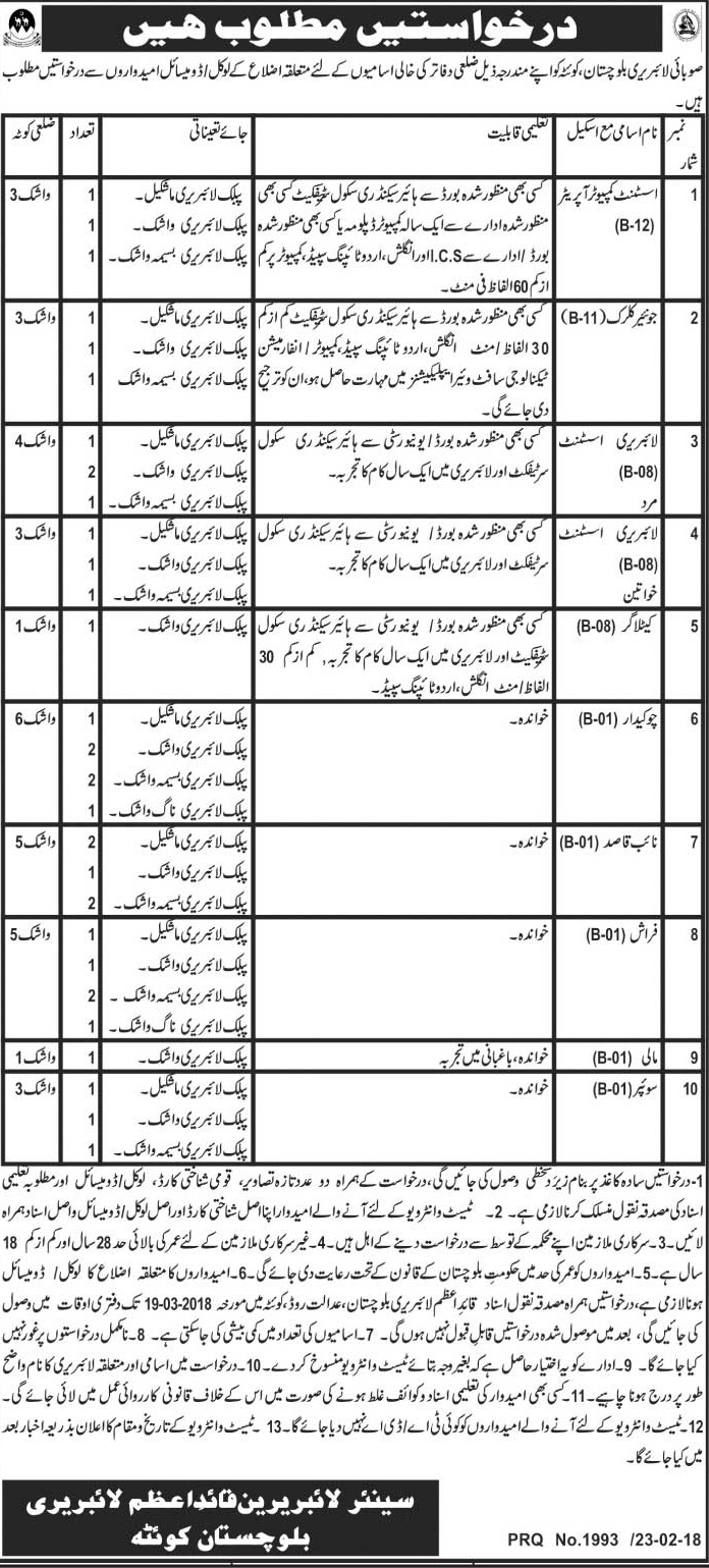 Balochistan Libraries 34 Jobs, 24th February 2018, Daily Jang Newspaper