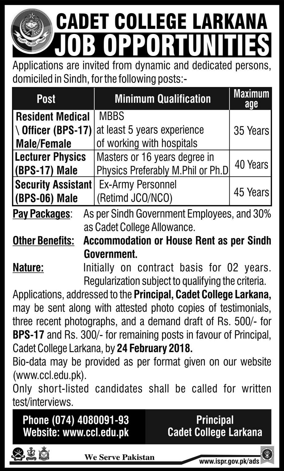 Jobs in Cadet College Larkana 14 February 2018 Daily Express Newspaper