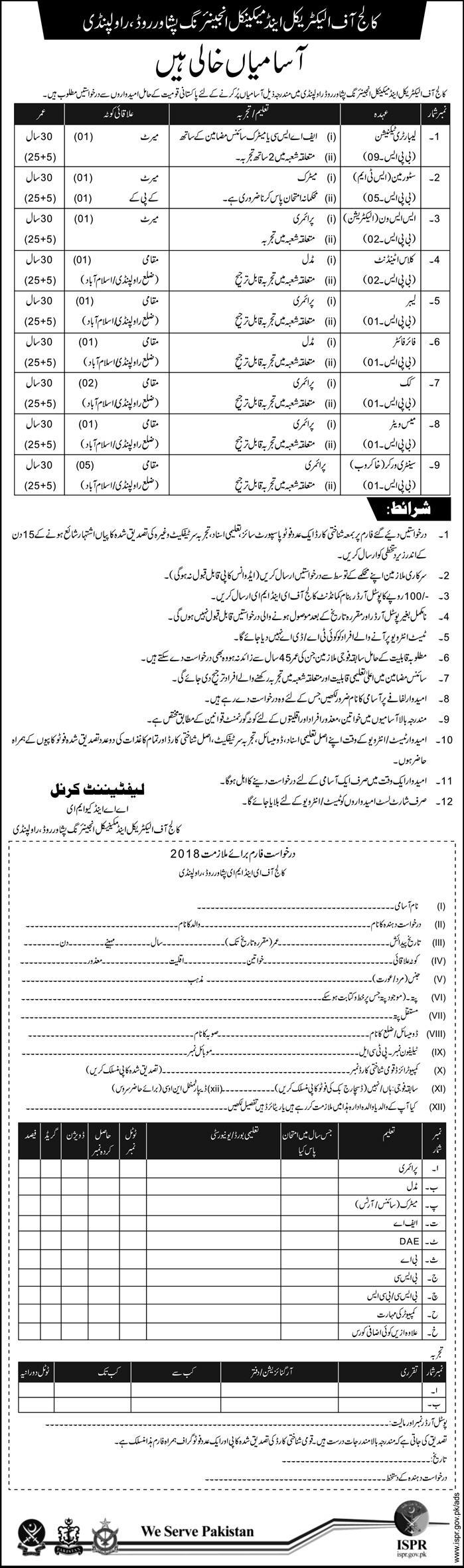 College of Electrical & Mechanical Engineering Rawalpindi 15 Jobs 11 February 2018 Daily Express Newspaper