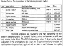 District Public School Minchanabad Campus New Jobs 15th February 2018 Daily Jang Newspaper