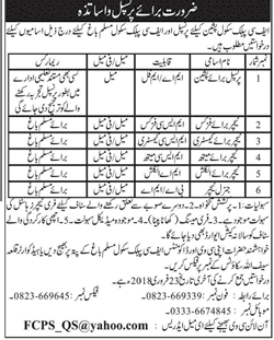 FC School Muslim Bagh New Jobs 13th February 2018 Daily Jang Newspaper