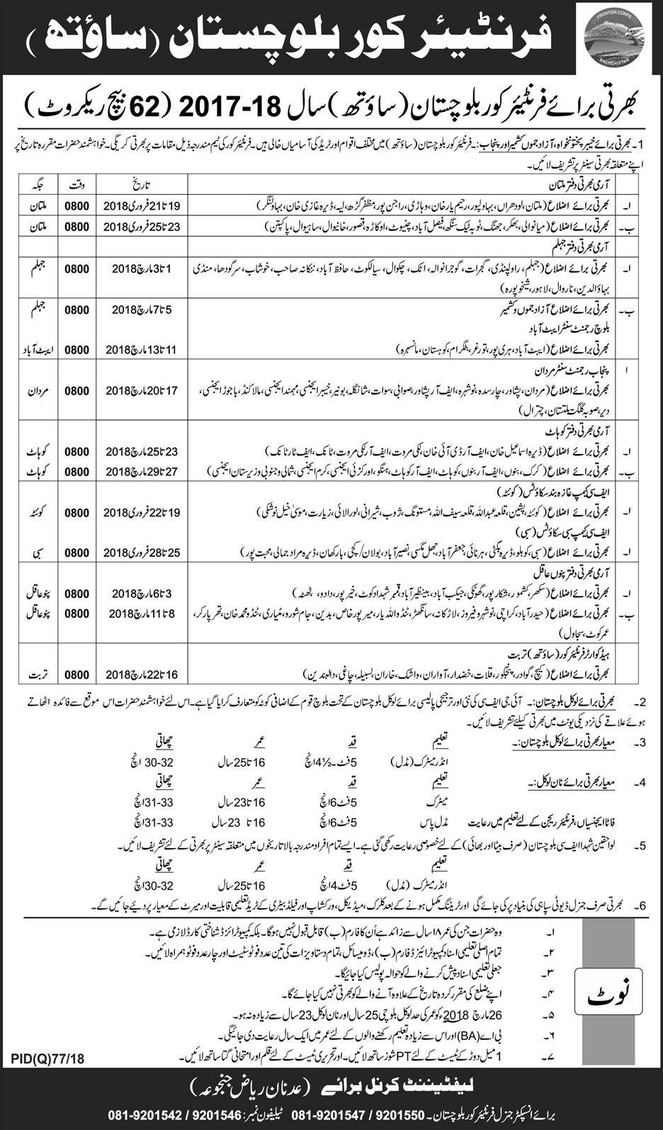 Baluchistan Frontier Core New Jobs, 11 February 2018, Daily Express Newspaper
