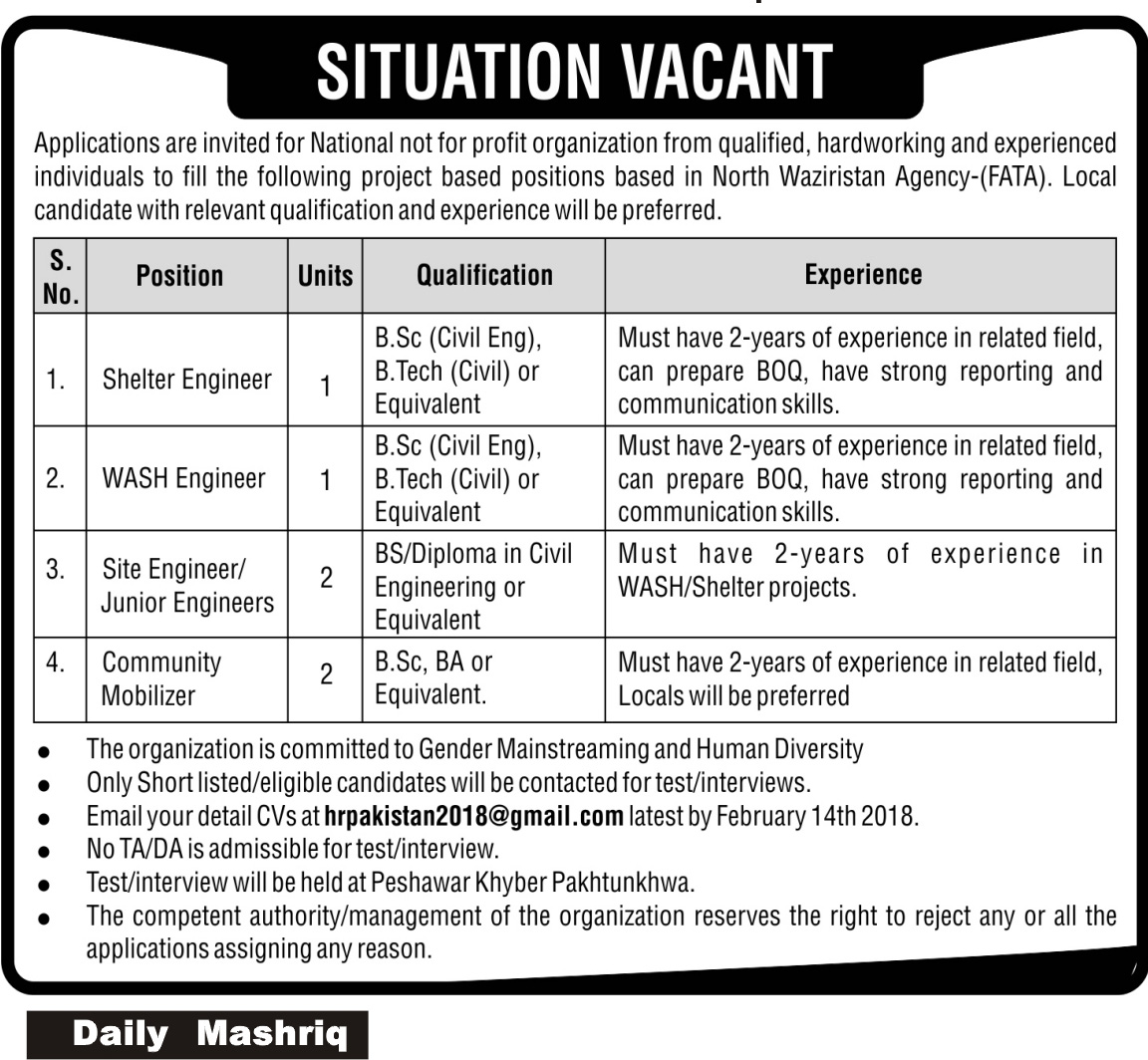 FAtA based Public Sector Organization Jobs 10th February 2018 Daily Mashriq Newspaper